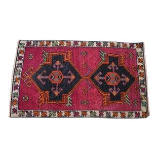 1960s Vintage Floor Area Rug- 1′10″ × 3′2″ For Sale