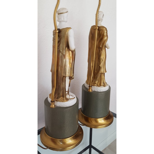 1960 Gilded Bisque Roman Figural Lamps - Pair - Image 7 of 7