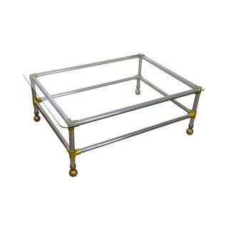 Mid Century Modern Style Chrome Brass & Glass Coffee Table For Sale