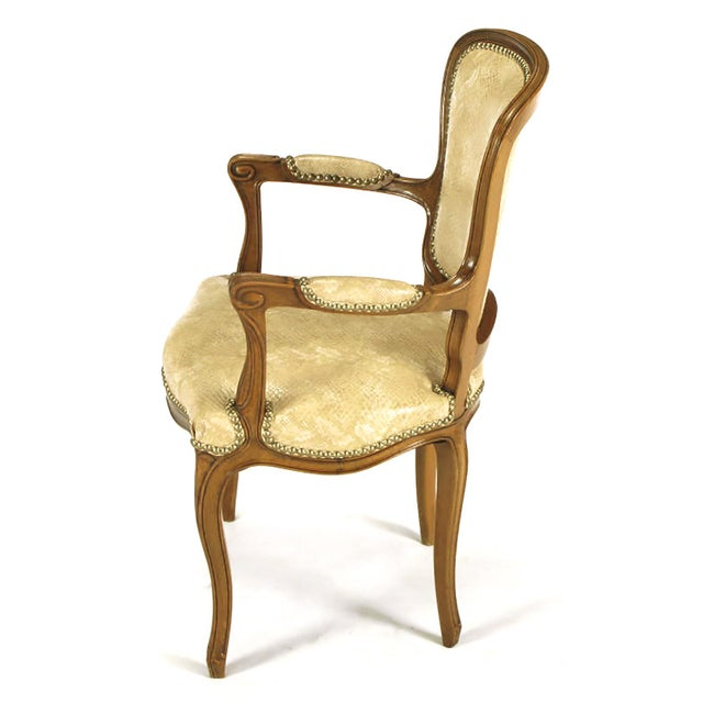 Pair of Walnut Louis XV Style Armchairs in Faux Python - Image 4 of 8