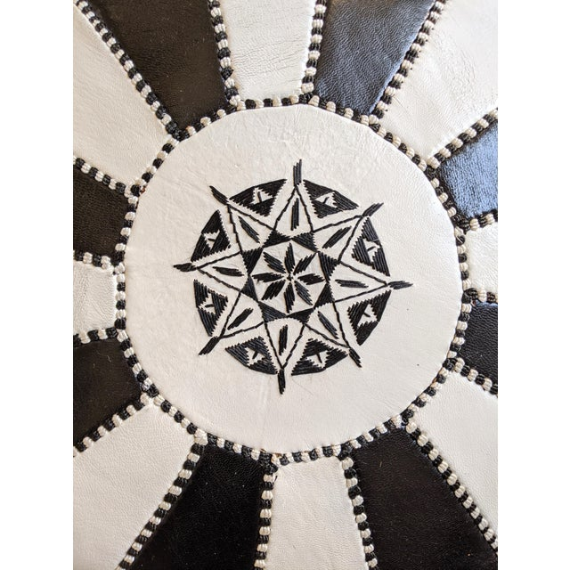 Black and White Moroccan Leather Ottoman For Sale - Image 4 of 5