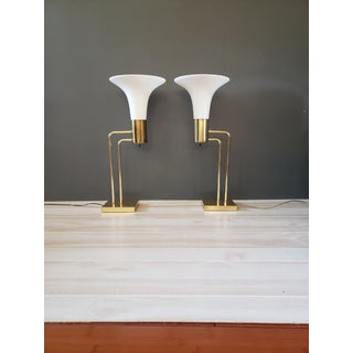Mid-Century Art Deco Frosted Glass Geometric Brass Torchiere Table Lamps - a Pair Preview