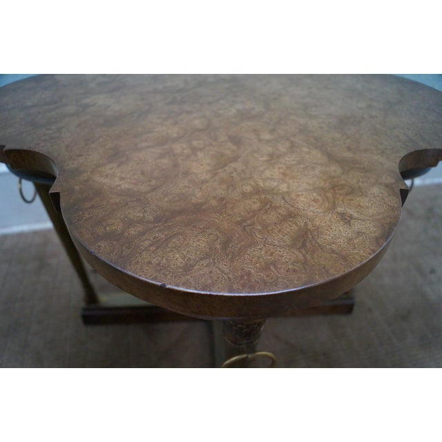 Mastercraft Vintage Burl Wood & Brass Side Table For Sale - Image 10 of 10