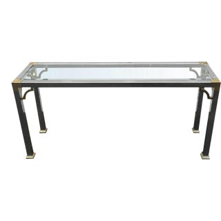 Mid Century Chrome & Brass Console Table For Sale