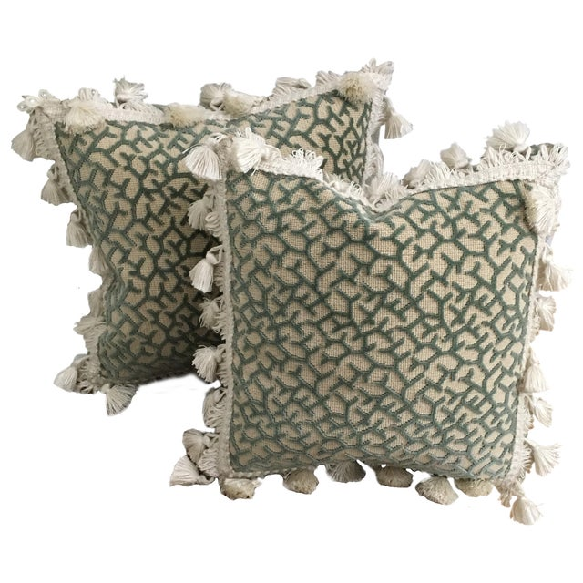 Transitional Fringed Pillows - Pair - Image 1 of 6