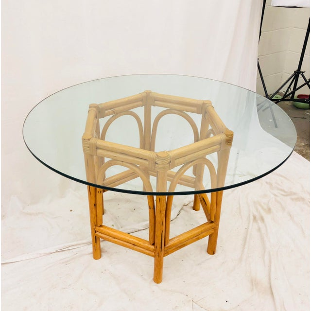 Vintage Bent Rattan & Glass Table For Sale - Image 10 of 12