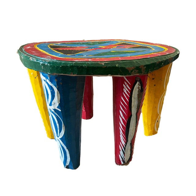 "Figurative African Old Nupe Stool Nigeria 11.5"" H For Sale - Image 3 of 13"
