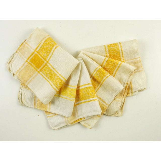 1960s Cotton Damask Yellow Plaid Napkins - Set of 6 For Sale - Image 5 of 5