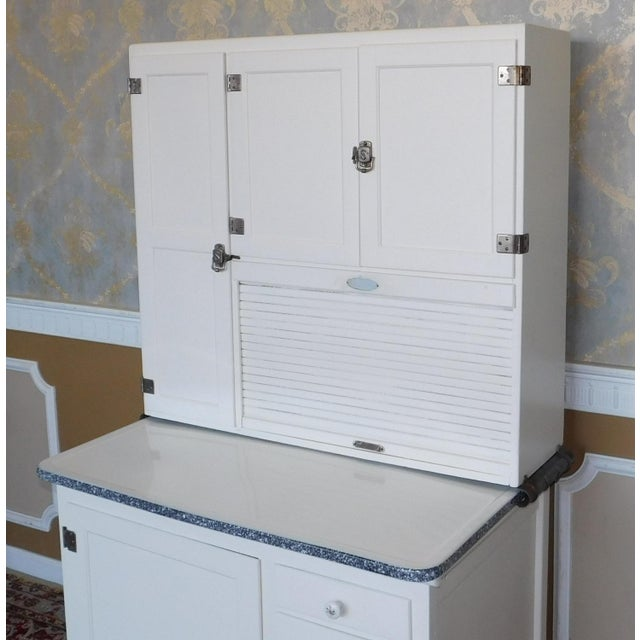 Late 19th Century Antique Sellers Restored Painted White Hoosier Kitchen Cabinet C1890 For Sale - Image 5 of 13