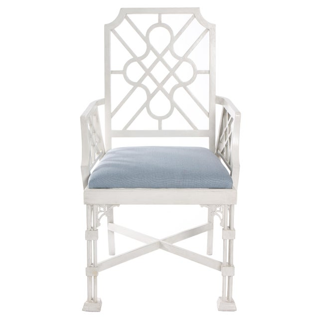 White Painted Chinese Chippendale Style Fretwork Armchairs - A Pair - Image 3 of 8