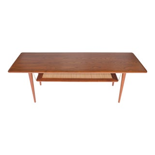 1950s Fd 516 Teak and Cane Coffee Table by Peter Hvidt & Orla Mølgaard Nielsen for France and Daverkosen For Sale