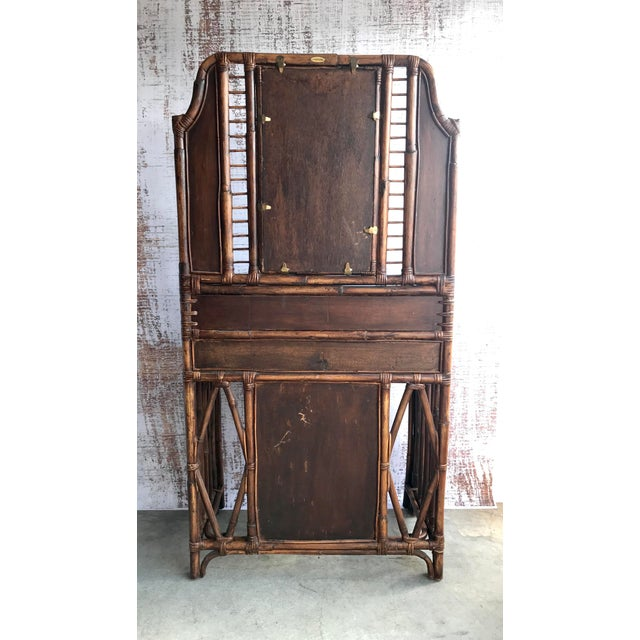 Wood Vintage Palecek Rattan Vanity For Sale - Image 7 of 8