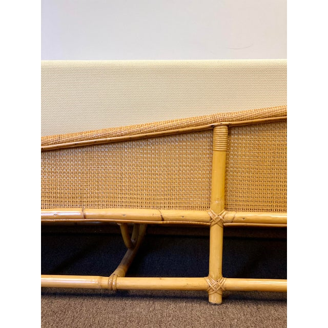 White 1960s Bamboo and Rattan Reupholstered Daybed For Sale - Image 8 of 12