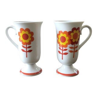 Vintage 1970s Bright Flower Irish Coffee Mugs - a Pair For Sale
