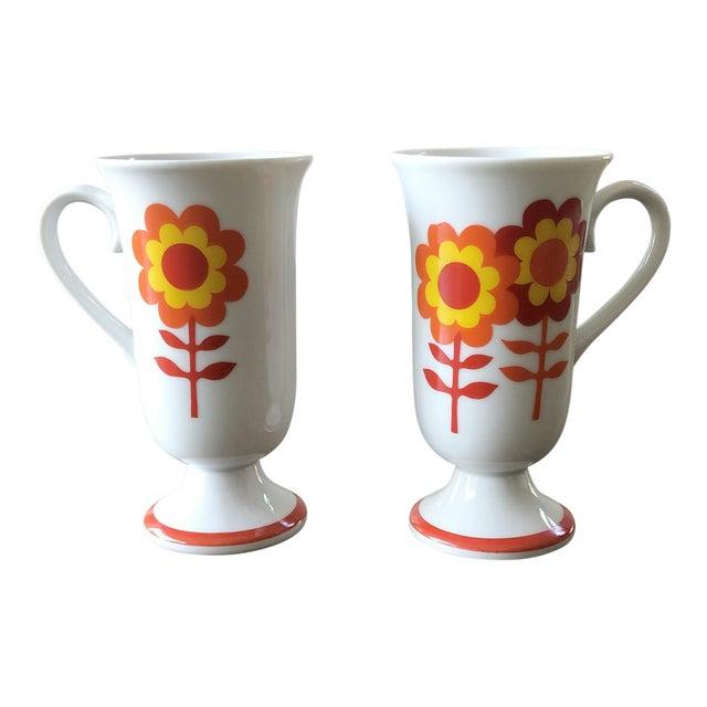 cdd8604b551 Vintage 1970s Bright Flower Irish Coffee Mugs - a Pair
