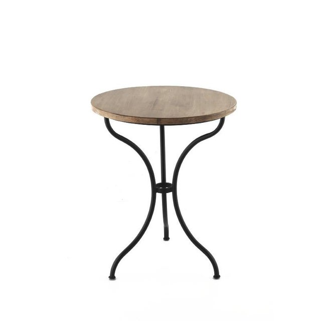 French New Round Bistro Table With Wood Top & Iron Base For Sale - Image 3 of 3