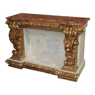Baroque Style Polychrome and Giltwood Console With Faux Marble Top For Sale