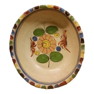 Tlaquepaque Mexican Field Flower Oval Serving Bowl For Sale