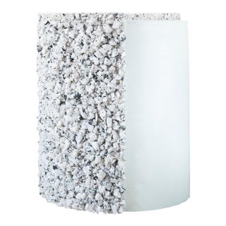 Hand Made White Moonstone and Celadon Plaster Drum, Side Table by Samuel Amoia For Sale