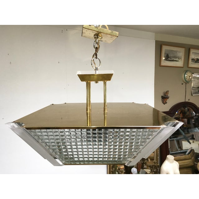 Fredrick Ramond Post Modern Square Brass & Glass Chandelier For Sale In Los Angeles - Image 6 of 11