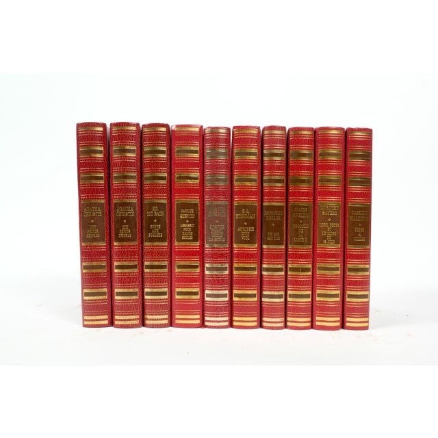 French French Leather Bound Books S/10 For Sale - Image 3 of 3