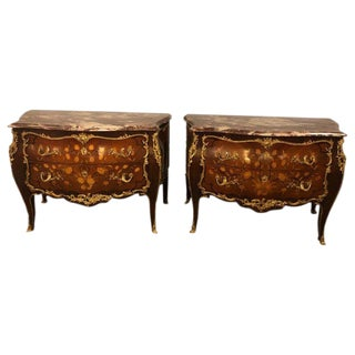 Pair of Marble-Top Bronze Mounted Bombe Floral Inlaid Louis XV Style Commodes For Sale