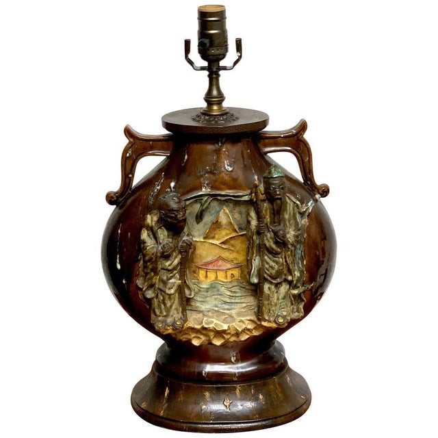 Fantoni Chinoiserie Pottery Lamp For Sale - Image 11 of 11
