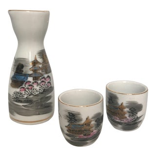 1960's Gilded Ceramic Japanese Sake Set - Set of 3 For Sale
