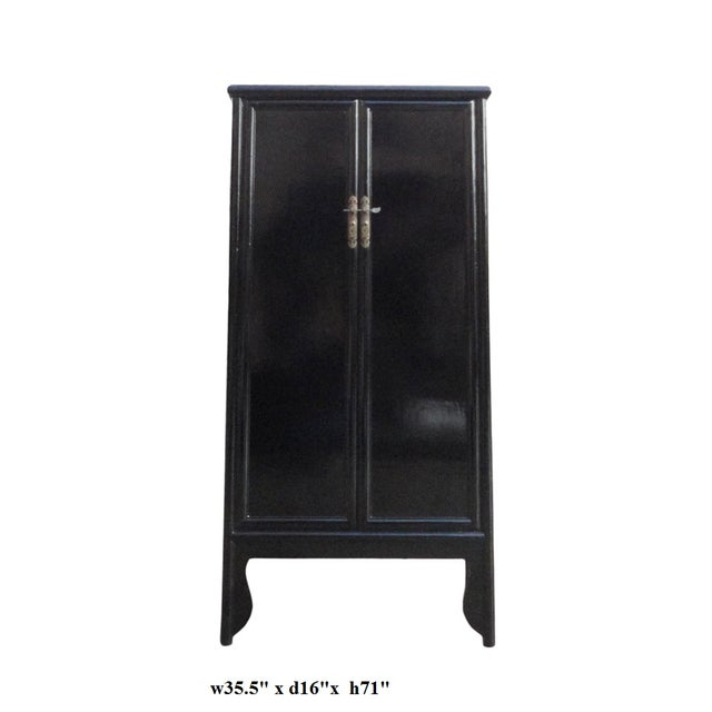 Chinese Oriental Black Lacquer Armoire - Image 5 of 5