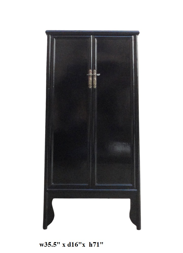 Beau Chinese Oriental Black Lacquer Armoire   Image 5 Of 5