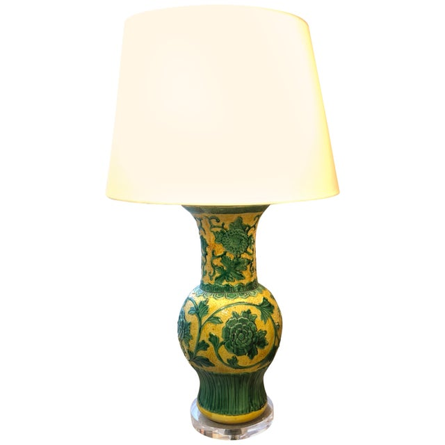 Striking Large Yellow and Green Chinese Vase Shaped Lamp For Sale In Philadelphia - Image 6 of 6