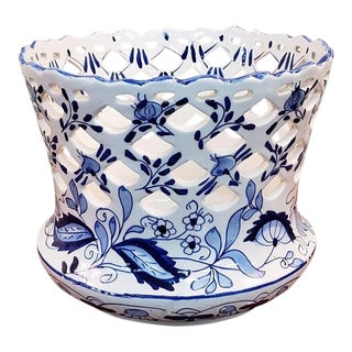 Vintage Blue & White Hand Painted Ceramic Plant Holder For Sale