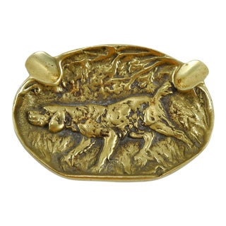 Brass Hunting Dog Ashtray For Sale
