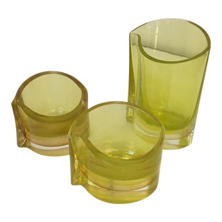 Yellow Comma Shaped Art Glass Vases - Set of 3 For Sale