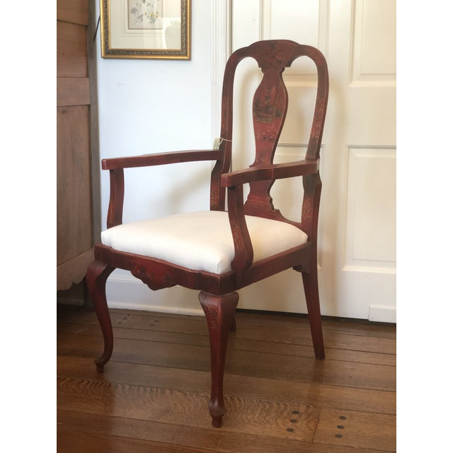 Wood 19th Century Red Japanese Arm Chair For Sale - Image 7 of 7