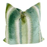 "Image of Brunschwig & Fils ""Bromo Velvet"" in Aloe 22"" Pillows-A Pair For Sale"