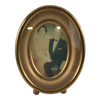 Vintage Small Oval Gold Picture Frame For Sale
