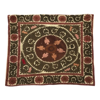 Oversized Vintage Suzani Cream, Pinks, Burgundy and Army Green Embroidered Floor / Pet Pillow