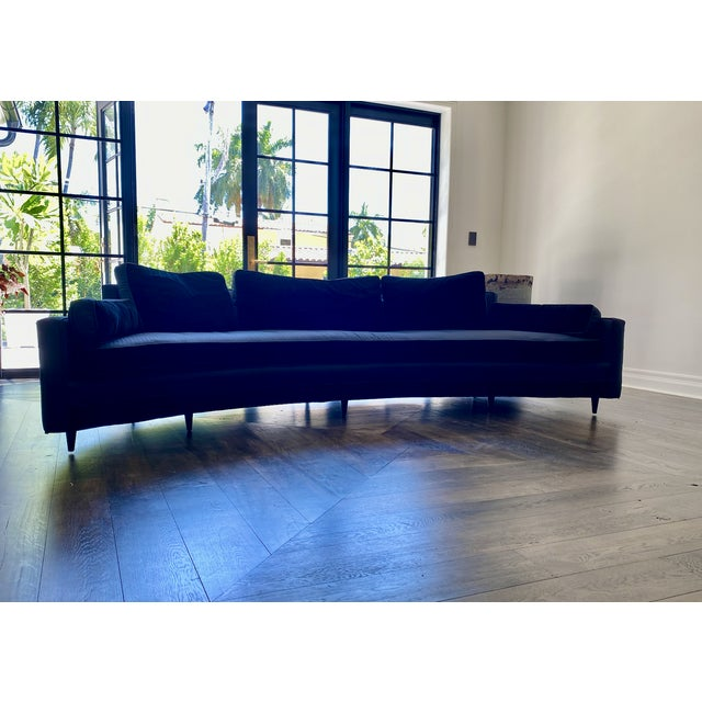 Harvey Probber Crescent sofa, circa early 1960s. Features a curved design. It has down-filled back and side cushions with...