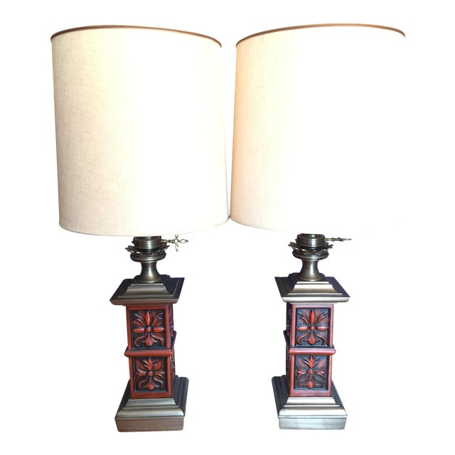 Stiffel Mid-Century Hollywood Regency Red Table Lamps, 1960s - A Pair For Sale