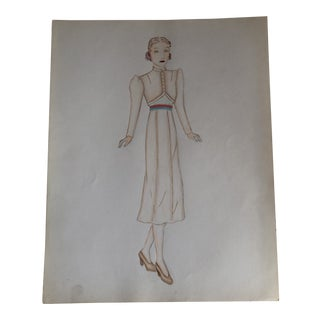Original Vintage Art Deco 1930's Female Fashion Illustration Painting For Sale