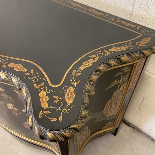 Black Asian Style Credenza Server Black Lacquer For Sale - Image 8 of 13