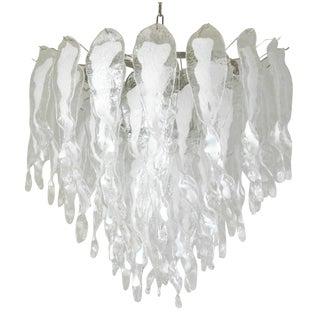 Murano White Stalattiti Glass Chandelier