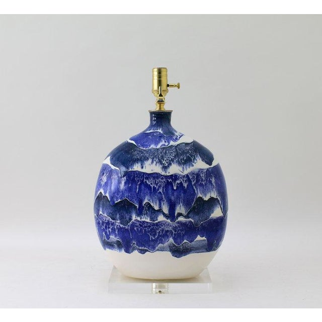 "Not Yet Made - Made To Order Paul Schneider Ceramic ""Marfa"" Lamp in Drip Banded Blue Glaze For Sale - Image 5 of 6"