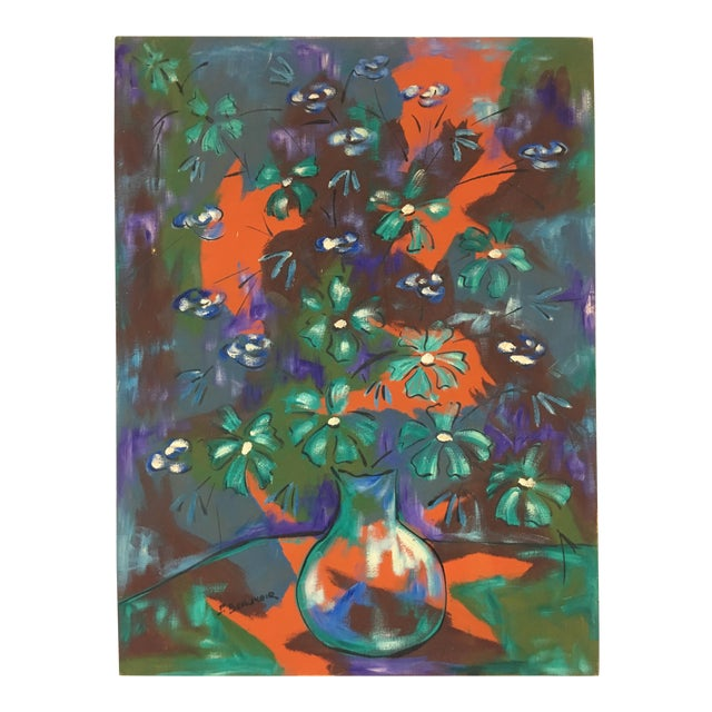 1960s Vintage Original Haitian Floral Still Life Oil Painting by Listed Artist Paul Beauvoir For Sale