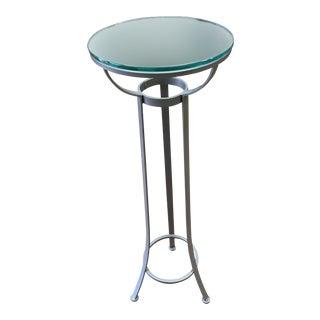 Custom Metal + Glass Pedestal Table For Sale