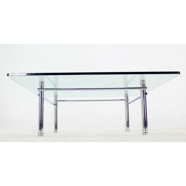 1970s Solid Chrome Base with Heavy Steel Bars and Square Glass-Top Coffee Table For Sale - Image 5 of 10