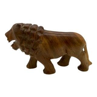 1950s Vintage Solid Teak Male Lion Figurine For Sale