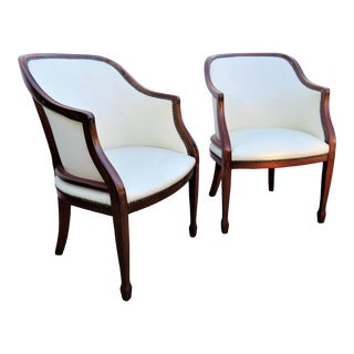 Hepplewhite Solid Mahogany Leather Chairs - a Pair For Sale