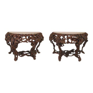 Pair of Asian Chinese Rustic Style Root Console Tables